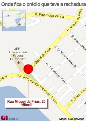 VALE ESSE:Mapa com localização de prédio evacuado em Niterói (Foto: Arte/G1)