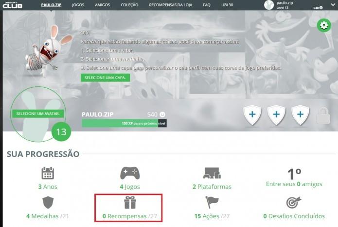 Ubisoft Club: logue com sua conta e acesse a seção Recompensas (Foto: Reprodução/Paulo Vasconcellos)