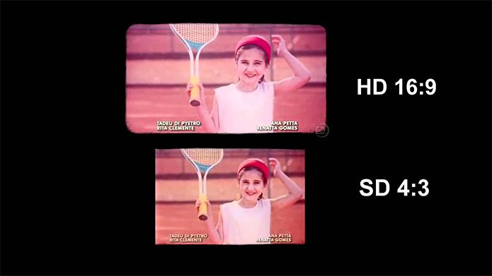 Na imagem, a comparação dos aspectos de tela em 16:9 e 4:3: note como o sinal analógico (SD) corta áreas da imagem (Foto: Reprodução/YouTube)
