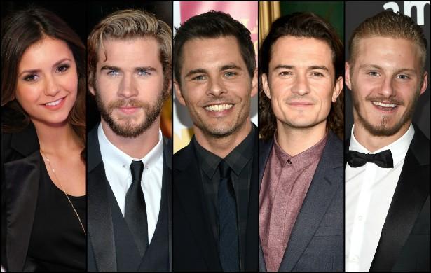 """2014 foi um ano muito """"produtivo"""" para a atriz búlgaro-canadense Nina Dobrev, a Amara da série 'The Vampire Diaries', em termos de companhia masculina. Ao longo do ano, a artista de 25 anos ficou com, da esquerda para a direita: 1. o ator da saga 'Jogos Vorazes' Liam Hemsworth (ex de Miley Cyrus) em fevereiro; 2. o ciclope dos filmes dos 'X-Men' James Marsden em junho; 3. o britânico Orlando Bloom (da saga 'O Senhor dos Anéis') em julho; 4. e o ator canadense Alexander Ludwig em agosto. You go, girl! (Foto: Getty Images)"""