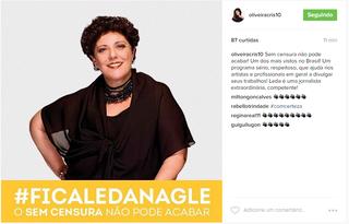 Famosos fazem campanha na web para permanência de Leda Nagle na TV Brasil (Foto: Reprodução/Instagram)