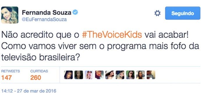 Fernanda Souza é fã do TVK (Foto: Reprodução Internet)