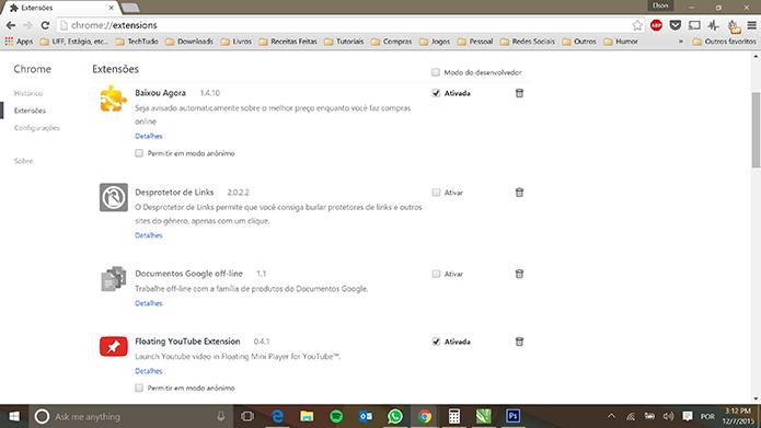 Extensões de navegadores podem estar relacionados com vírus no e-mail (Foto: Reprodução/Elson de Souza)