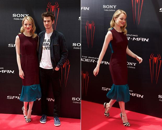 Emma Stone e Andrw Garfield em Madrid, Espanha (Foto: Getty Images)