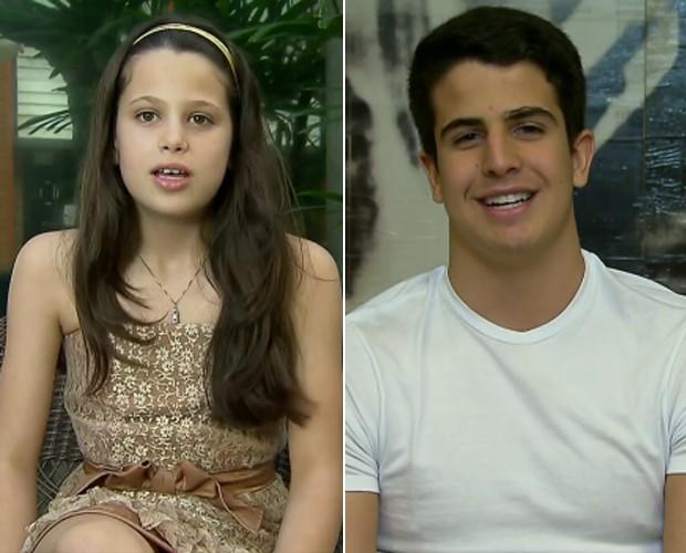 Sophia e Enzo: filhos de Edson Celulari com a atriz Claudia Raia (Foto: TV Globo)