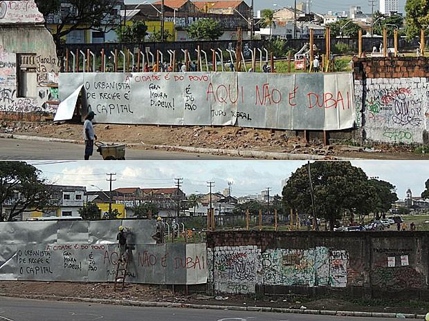 Operários do Consórcio Novo Recife colocam tapumes em muro do terreno no Cais José Estelita (Foto: Débora Soares / G1)