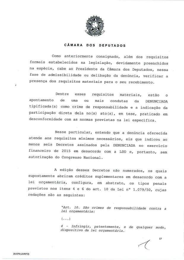 17 - Leia íntegra da decisão de Cunha que abriu processo de impeachment (Foto: Reprodução)