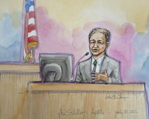 Phil Schiller, vice-presidente de marketing da Apple, aparece em desenho que reproduz o julgamento contra a Samsung (Foto: Vicki Behringer/Reuters)