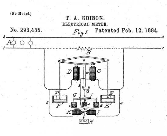 Medidor eletrônico Thomas Edison (Foto: Google Patents)