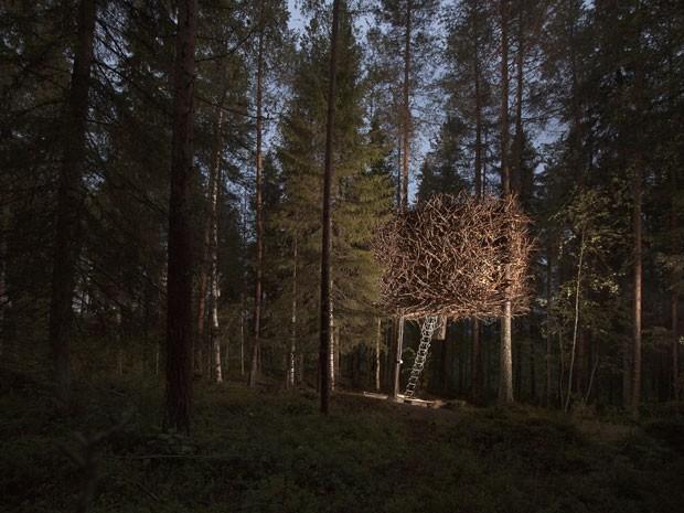 Casa na árvore em forma de ninho do Treehotel, na Suécia (Foto: Peter Lundstrom, WDO – www.treehotel.se)