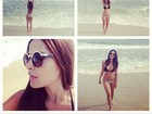 Gyselle Soares faz alongamento e exibe boa forma em praia do Rio