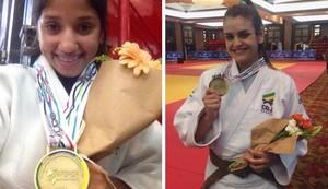Gabriela (esq.) e Aine (dir.) com suas medalhas de ouro (Foto: Reprodução/Facebook)