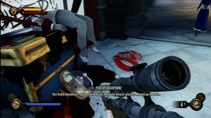 Bioshock Infinite: depois de enfrentar os Vox Populi, procure pelo corpo do policial morto. Haverá um Voxophone próximo a ele (Foto: Reprodução/IGN Wiki)