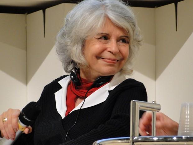 Escritora Alice Ruiz na Feira do Livro de Frankfurt (Foto: Raquel Freitas/G1)