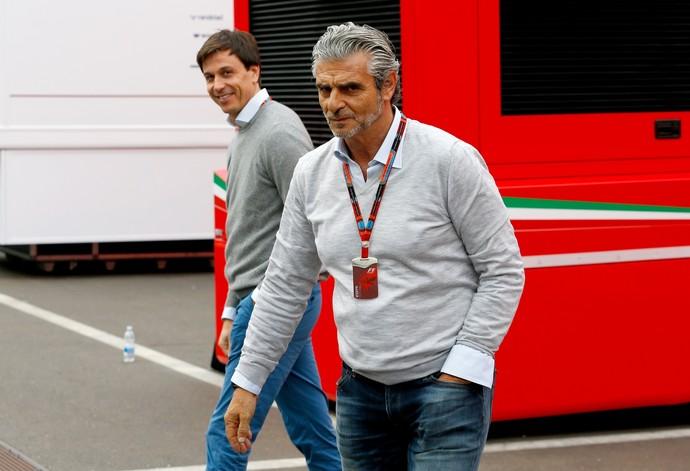 Toto Wolff e Maurizio Arrivabane no GP da Áustria (Foto: Getty Images)
