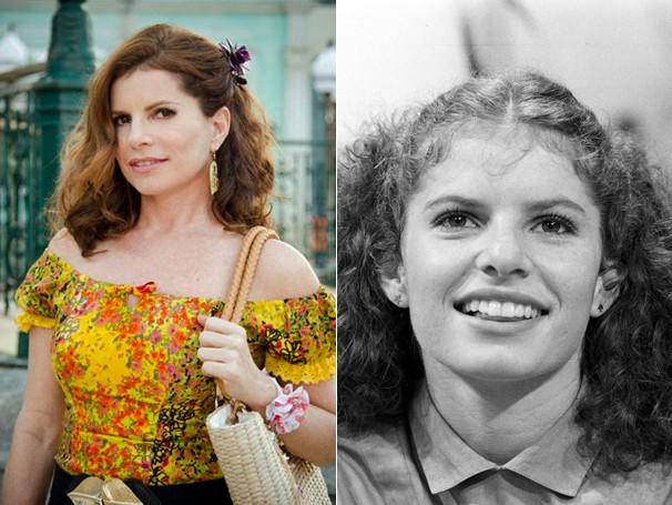 Débora Bloch como Risoleta, em Saramandaia (2013), e como Lívia em sua primeira novela, Jogo da Vida (1981) (Foto: CEDOC Globo)