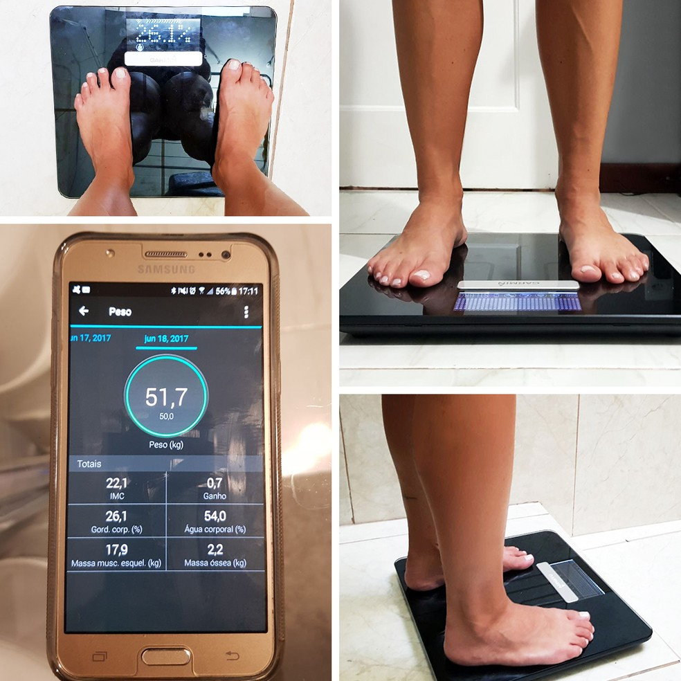 Dados da balança são sincronizados e exibidos na tela do seu smartphone (Foto: Arquivo pessoal / Arte Eu Atleta)