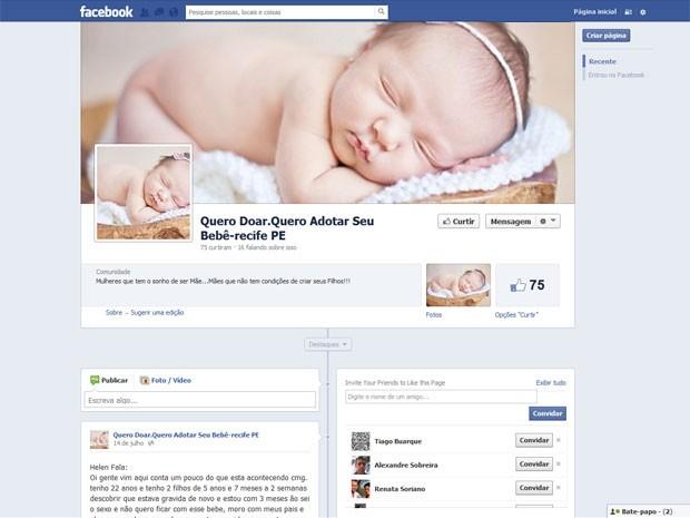 Página intermedia suposta venda de bebês pela internet (Foto: Reprodução)