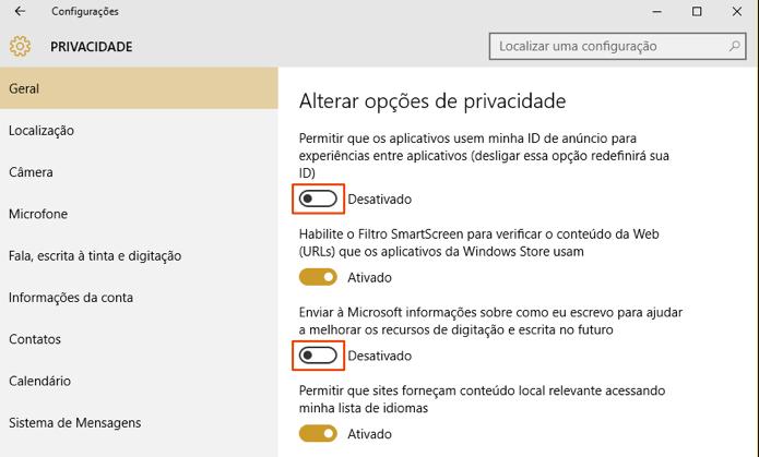 Privacidade regula dados enviados para a Microsoft (Foto: Reprodução/Paulo Alves)