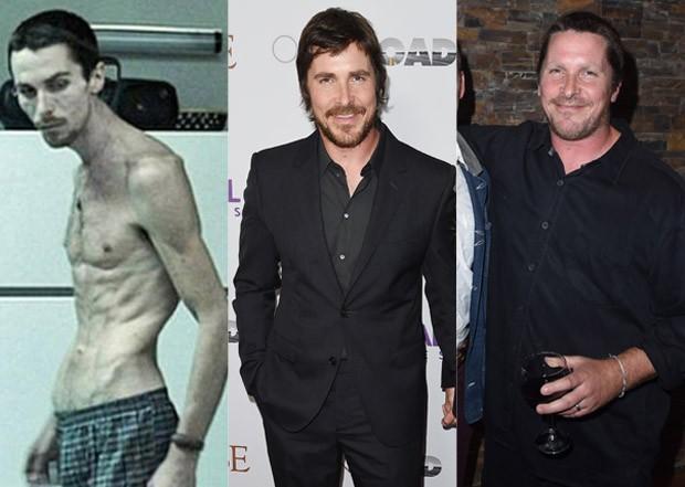 Christian Bale em O Operário (2004), em abril de 2017 e em setembro de 2017 (Foto: Reprodução e Getty Images)