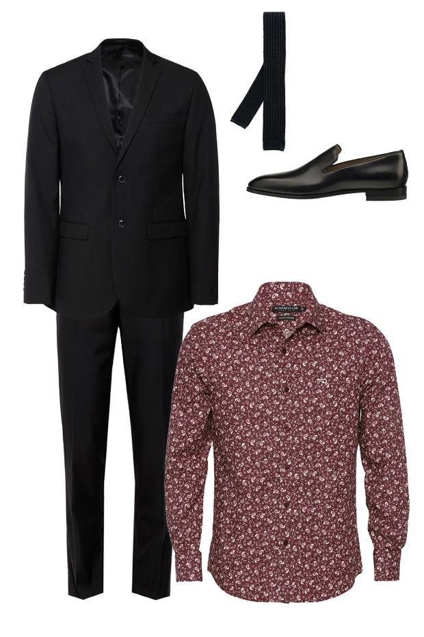 Blazer ( R$ 259) e calça (R$ 129) Renner, gravata Eleventy na Farfetch, loafer Christian Louboutin (R$ 3.990) e camisa Damyller (R$ 239) (Foto: Divulgação)