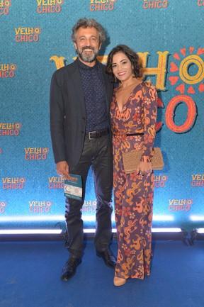 Domingos Montagner com a mulher, Luciana Lima, na festa de lançamento da novela Velho Chico (Foto: Globo/ João Miguel Júnior)