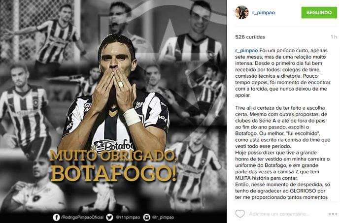 Rodrigo Pimpão posta mensagem de despedida do Botafogo (Foto: Reprodução/Instagram)