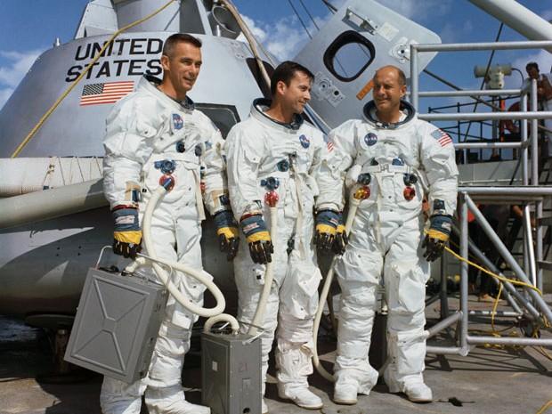 Da esquerda para a direita, os astronautas da Apollo 10 Eugene Cernan, John Young e Thomas Stafford (Foto: Divulgação/Nasa)