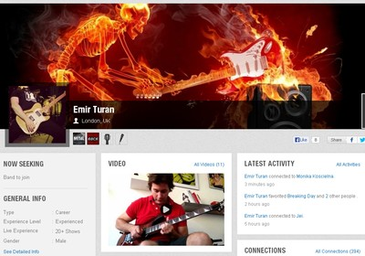 Perfil de músico no site Giggem (Foto: Reprodução)