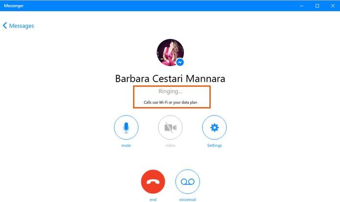 A ligação será inicializada e tocará no dispositivo do seu amigo (Foto: Reprodução/Barbara Mannara)