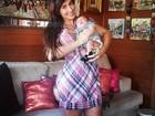 Jaque Khury posa com o filho, Gael: 'Visita na casa da vovó'