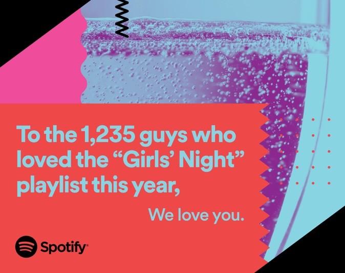 A playlist 'Girls Night Out' foi um sucesso entre os homens tambm (Foto: Divulgao/Spotify)