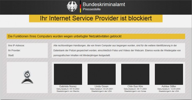 Tela exibida pela praga digital se passando pela BKA, a polícia federal Alemanha (Foto: Reprodução/Botfrei)