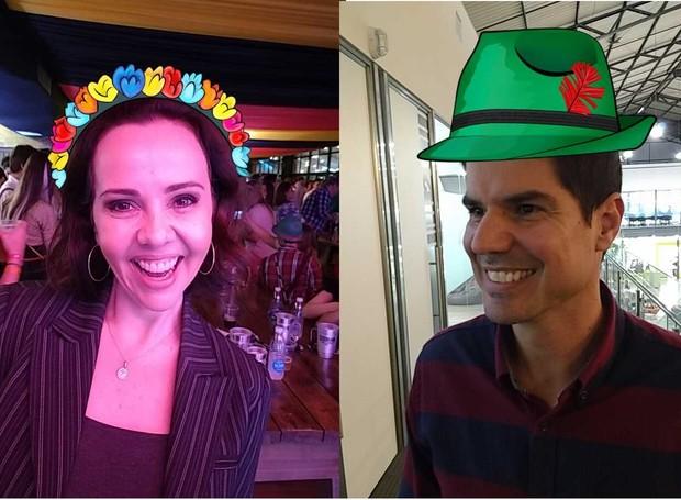 Laine Valgas também esteve em Blumenau; Fabian brincou com app, mesmo sem ir à festa (Foto: RBS TV/Divulgação)