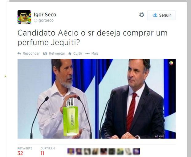 A troca de olhares entre Aécio Neves e Eduardo Jorge, flagrada na transmissão em duas câmeras, não escapou das piadas (Foto: Reprodução/Twitter/IgorSeco)