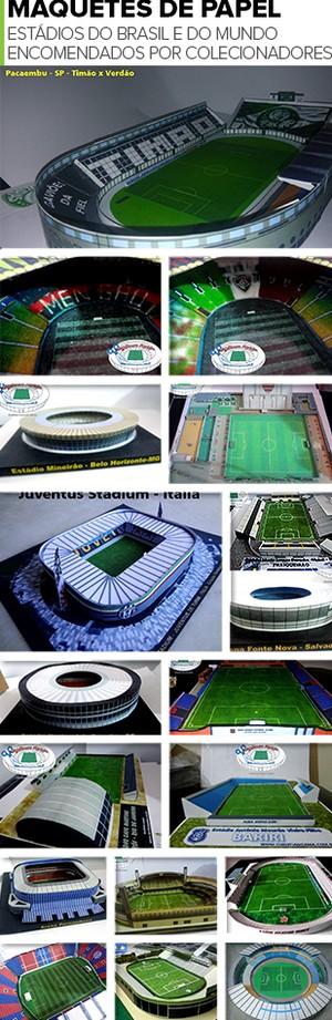 MOSAICO - Maquetes mini estádios (Foto: Editoria de Arte)