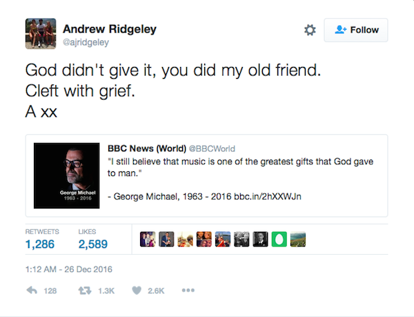 A homenagem de Andrew Ridgeley a George Michael (Foto: Twitter)