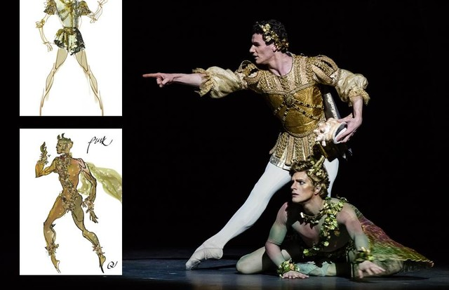 Christian Lacroix's watercolour costume illustration for A Midsummer Night's Dream and the final costume on stage (Foto: ANN RAY; CHRISTIAN LACROIX)