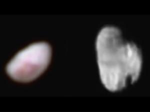 Nix e Hidra, luas de Plutão, em foto da sonda New Horizons (Foto: JPL/Nasa)
