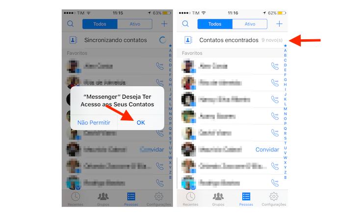 Sincronizando contatos da agenda do iPhone com o Facebook Messenger (Foto: Reprodução/Marvin Costa)