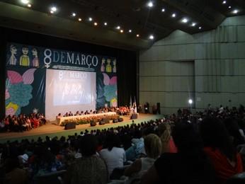 Público recebeu o governador com gritos de 'Eduardo presidente' (Foto: Katherine Coutinho / G1)
