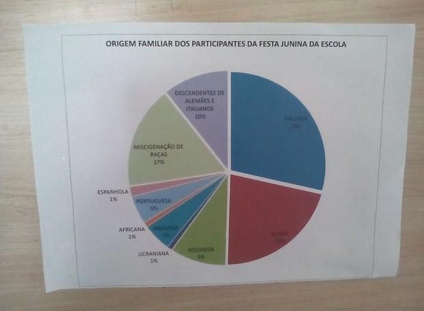 As professoras criaram um gráfico para representar a diversidade étnica  (Foto: RPC)