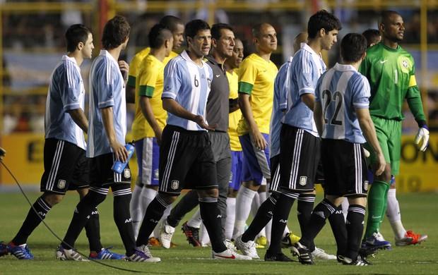 JOgadores brasil x argentina jefferson - (AGÊNCIA AP) (Foto: Agência AP)