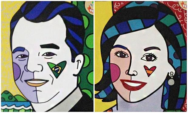 Retratos de Sergio Cabral e sua mulher, Adriana Ancelmo, foram apreendidos pela PF (Foto: Reprodução)