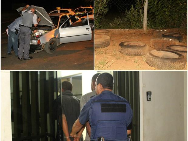 Trio é preso com 9 pneus, 3 macacos e ferramenta da Ciretran de São Carlos (Foto: Maurício Duch/arquivo pessoal)