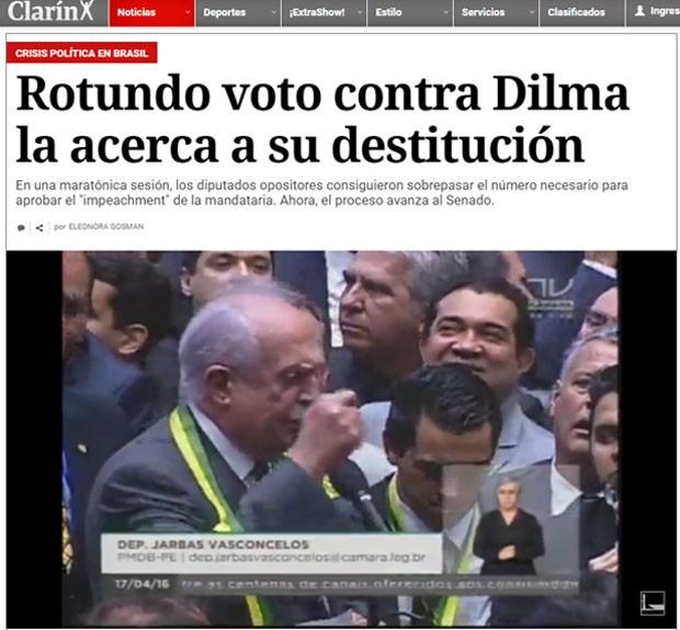 Site do jornal argentino Clarín transmitiu ao vivo a votação do impeachment na Câmara (Foto: Reprodução/Clarín)