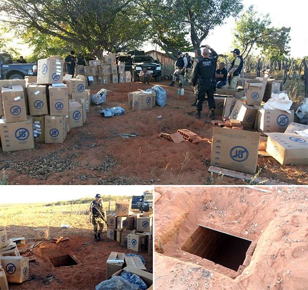 Carga de cigarros estava escondida em cisternas subterrâneas na zona rural de Caraúbas (Foto: Divulgação/Polícia Militar)
