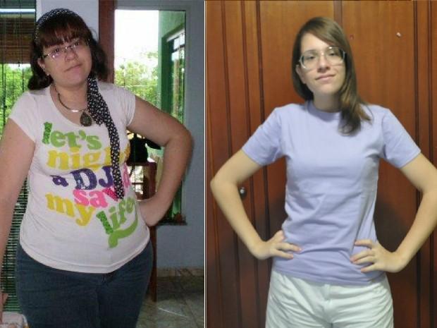 Jovem deixa de ser obesa mórbida e perde 51 kg com musculação em MS (Foto:  (Foto: Gabriela Pavão/G1 MS e Arquivo Pessoal/ Érica Felício))