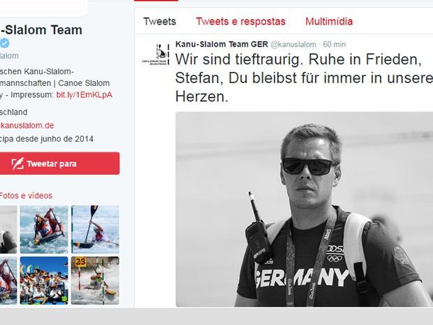 Equipe de Canoagem Slalom da Alemanha usou o Twitter para prestar homenagem ao técnico Stefan Henze (Foto: Reprodução/Twitter)