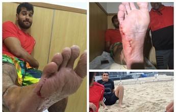 Jogador do Chile corta pé em treino  no Leme, perto da arena olímpica